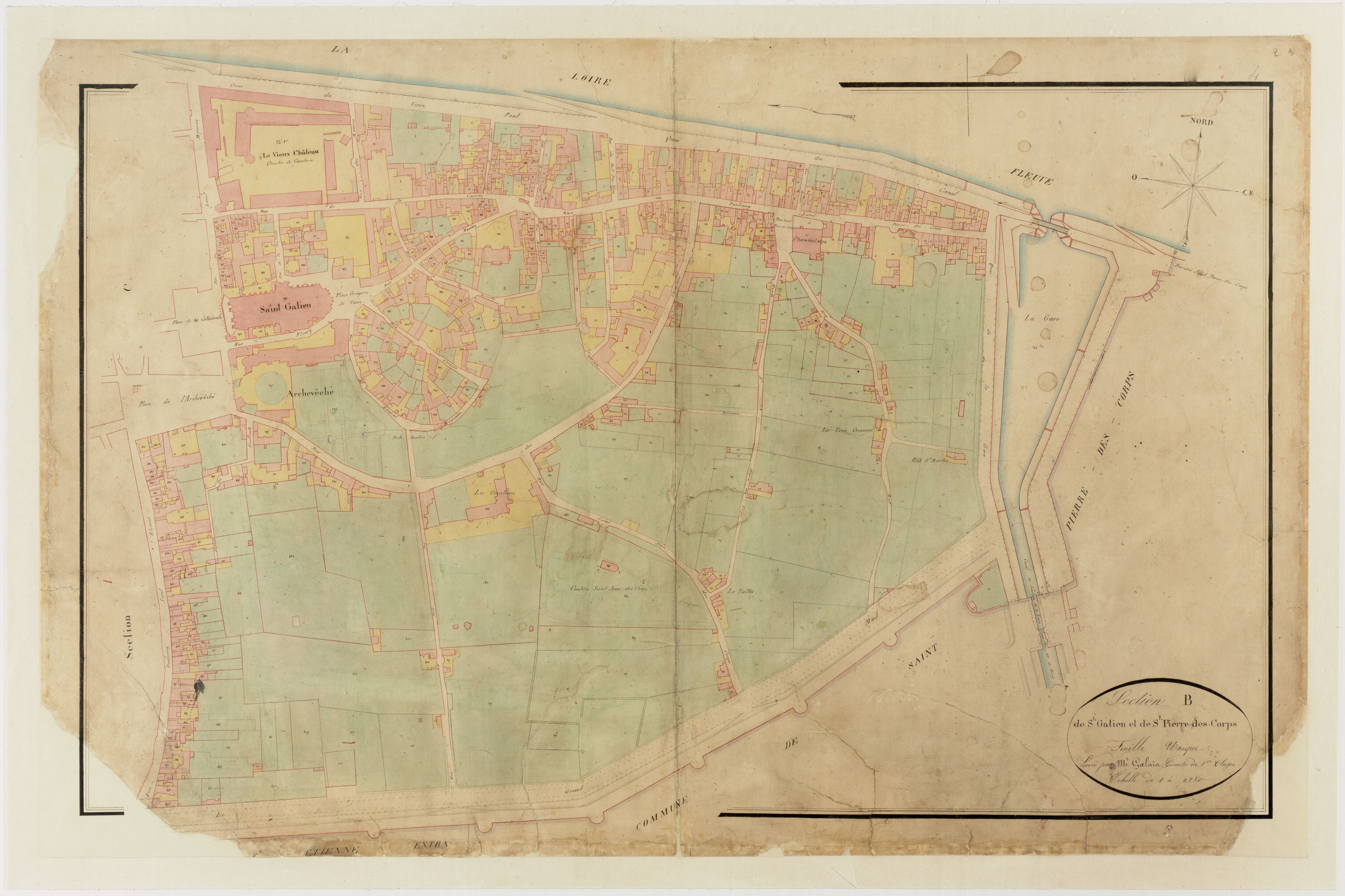 Plan cadastral napoléonien, section de Saint-Gatien et de Saint-Pierre-des-Corps. 1836. Archives municipales de Tours, série G.